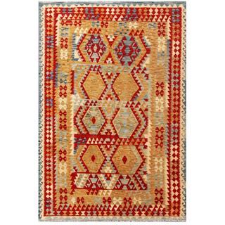 Herat Oriental Afghan Hand-woven Tribal Wool Kilim (6'6 x 9'11)