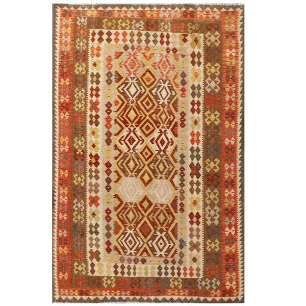 Herat Oriental Afghan Hand-woven Tribal Wool Kilim (6'4 x 9'10)