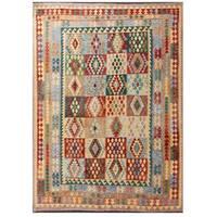 Handmade Herat Oriental Afghan Tribal Wool Kilim Rug  - 8'1 x 11'3 (Afghanistan)