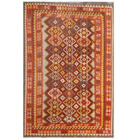 Handmade One-of-a-Kind Wool Kilim (Afghanistan) - 6'8 x 9'9