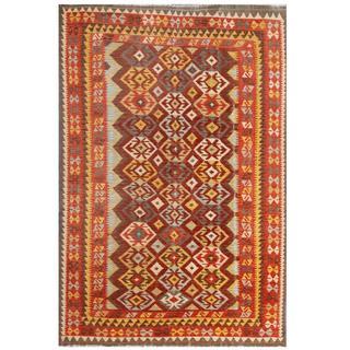 Herat Oriental Afghan Hand-woven Tribal Kilim Maroon/ Red Wool Rug (6'8 x 9'9)