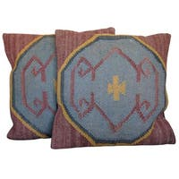 Handmade Herat Oriental Indo Kilim Throw Pillows (Set of Two)