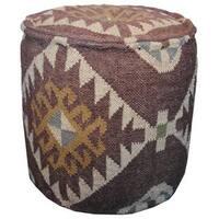Herat Oriental Handmade Indo Kilim Upholstered Pouf Ottoman