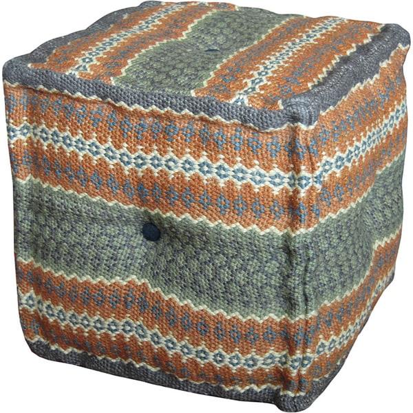 Handmade Herat Oriental Indo Kilim Upholstered Ottoman Pouf (India)