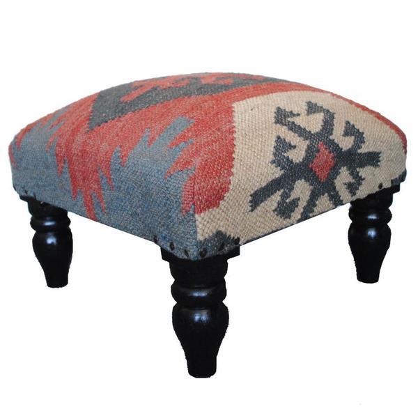 Herat Oriental Indo Kilim Upholstered Foot Stool Ottoman