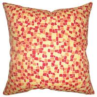 Bentlee Mosaic Tile Down Fill Sungold Throw Pillow