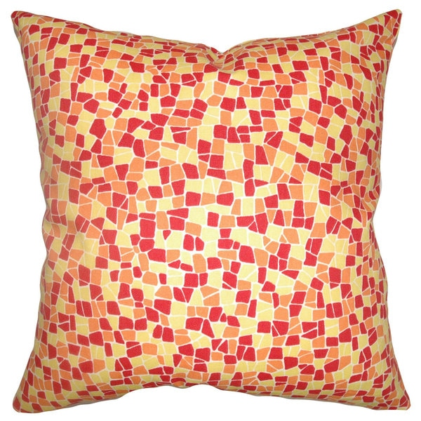 Bentlee Mosaic Tile Down Fill Sungold Throw Pillow