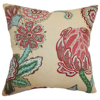 Samarinda Canary Floral Throw Feather and Down Filled Throw Pillow