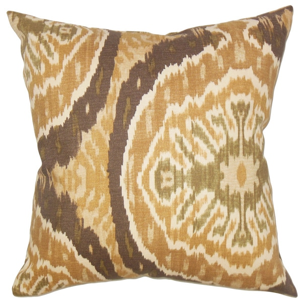 Iovenali Ikat Down Fill Tortoise Throw Pillow