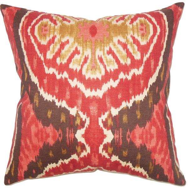 Iovenali Ikat Down Fill Red Throw Pillow