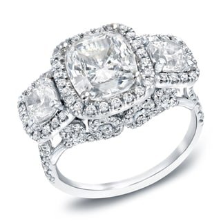 Auriya 18k White Gold 5ct TDW Certified Cushion Cut Diamond Ring