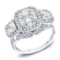Auriya 18k White Gold 5ct TDW 3-Stone Certified Cushion-Cut Diamond Halo Engagement Ring