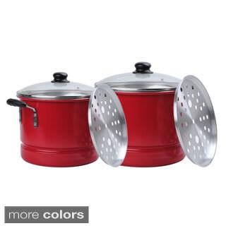 Aluminum 20-quart and 12-quart 6-piece Steamer Set