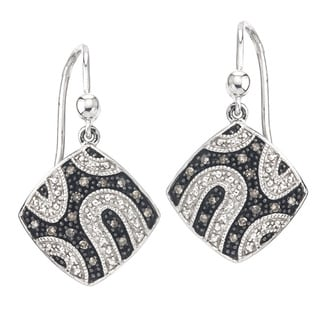 Sterling Silver 1/6ct TDW White Diamond Weave Grey Earrings By Ever One (H-I, I2-I3)