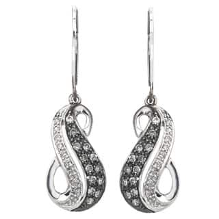Sterling Silver 1/3ct TDW SilverMist White and Grey Diamond Swirl Earrings By Ever One|https://ak1.ostkcdn.com/images/products/9167333/P16344661.jpg?impolicy=medium