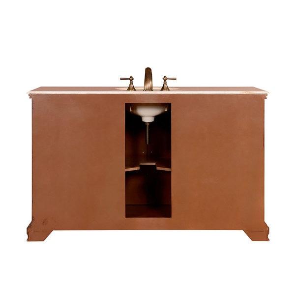 ... Silkroad Exclusive 58 Inch Crema Marfil Marble Top Single Sink Bathroom  Vanity