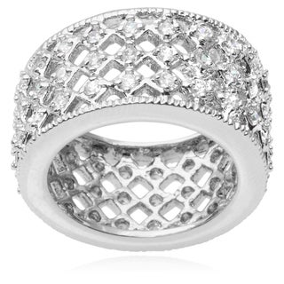 Journee Collection Brass Cubic Zirconia Band (12 mm)