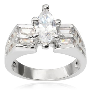 Journee Collection Brass Cubic Zirconia Wedding Ring