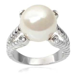 Journee Collection Brass Cubic Zirconia Faux Pearl Twist Ring