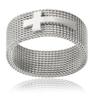 Vance Co. Men's Stainless Steel Cross Mesh Ring