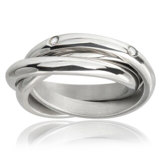 Journee Collection Stainless Steel Cubic Zirconia Bands (3 mm) (4 options available)