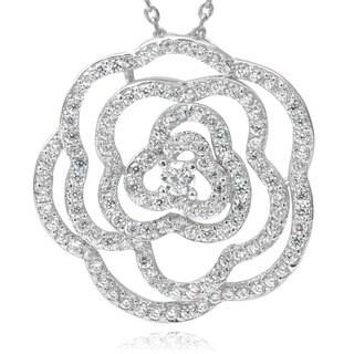 Journee Collection Cubic Zirconia Flower Pendant