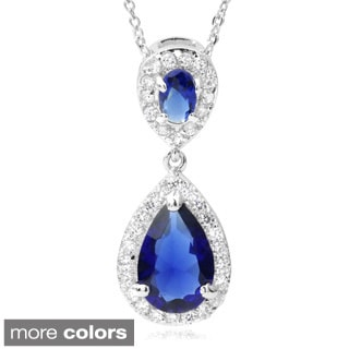 Journee Collection Cubic Zirconia Tear-drop Pendant Necklace