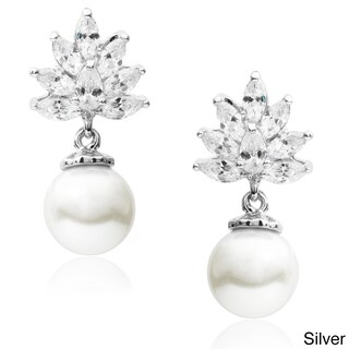 Journee Collection Cubic Zirconia Faux Pearl Dangle Earrings (2 options available)