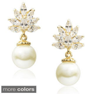 Journee Collection Cubic Zirconia Faux Pearl Dangle Earrings