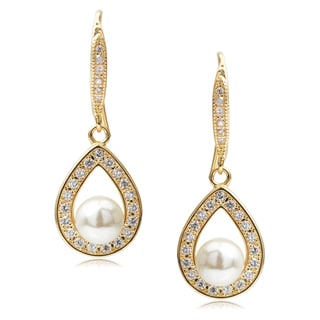 Journee Collection Brass Goldtone Cubic Zirconia Faux Pearl Earrings