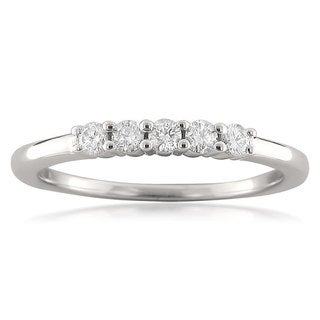 Montebello 18k White Gold 1/4ct TDW Five Stone Diamond Ring