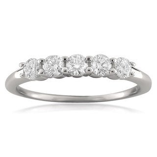 Montebello 18k White Gold 1/2ct TDW Round-cut Diamond Wedding Band (F-G, VS1-VS2)