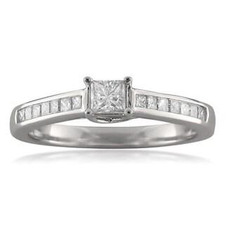 Montebello 14k White Gold 1/2ct TDW Princess-cut Diamond Promise Ring