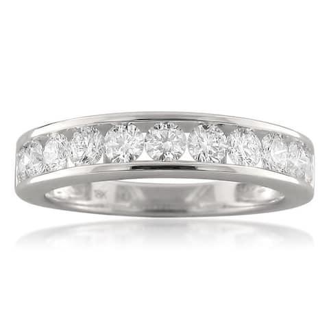 Montebello 18KT White Gold 1ct TDW Round-cut Diamond Wedding Band