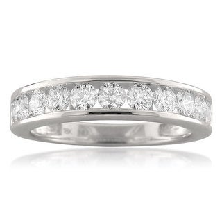 Montebello 18k White Gold 1ct TDW Round-cut Diamond Wedding Band
