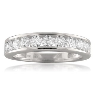 Montebello 18KT White Gold 1ct TDW Round-cut Diamond Wedding Band
