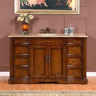 Brown Marble Top 60inch Chestnut Brown Single Sink Bathroom