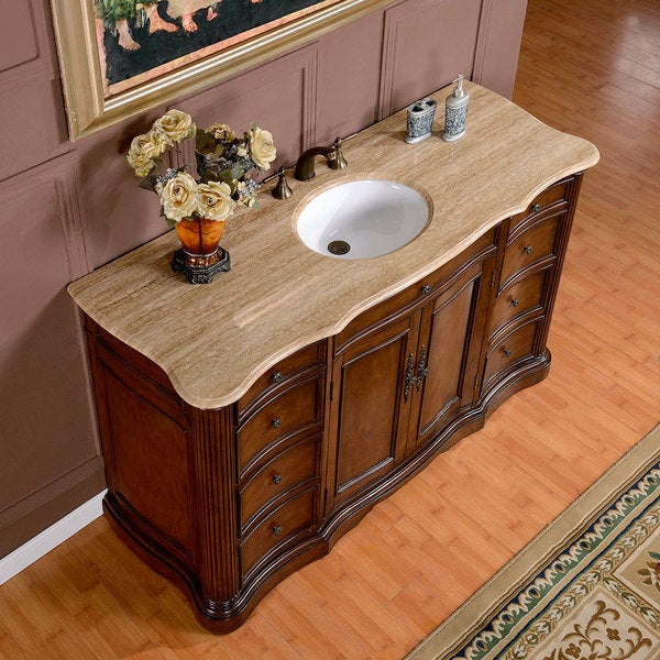 Silkroad Exclusive 60 Inch Travertine Stone Top Single Sink Bathroom Vanity Free Shipping