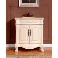 Silkroad Exclusive 32-inch Crema Marfil Marble Single Sink Bathroom Vanity
