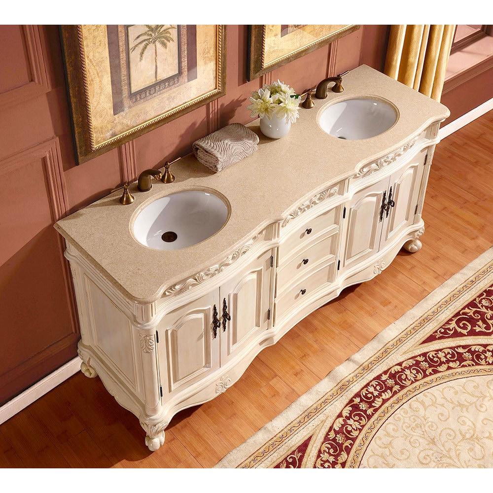 Silkroad Exclusive 72 Inch Crema Marfil Marble Stone Top Bathroom Double Sink Vanity Overstock 9167801