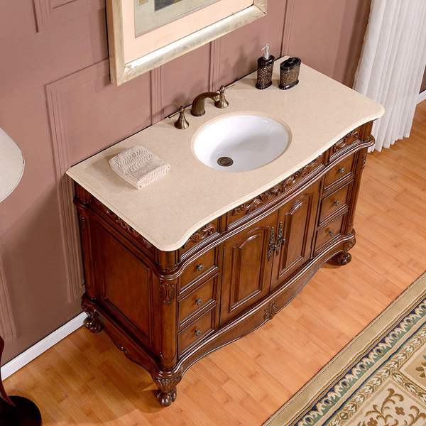 Silkroad Exclusive 48 Inch Crema Marfil Marble Top Single Sink Bathroom Vanity Free Shipping