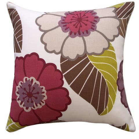 Handmade Dahlia Berry Throw Pillow