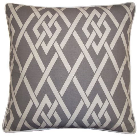 Jiti Grey Transitional Geometric Sunbrella Outdoor Pillow - 20 x 20