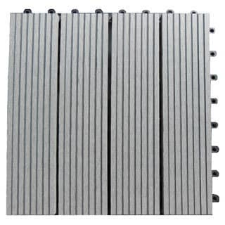 Century Outdoor Living 12 Inch Square Composite Concrete Grey Interlocking Deck Tiles Box Of