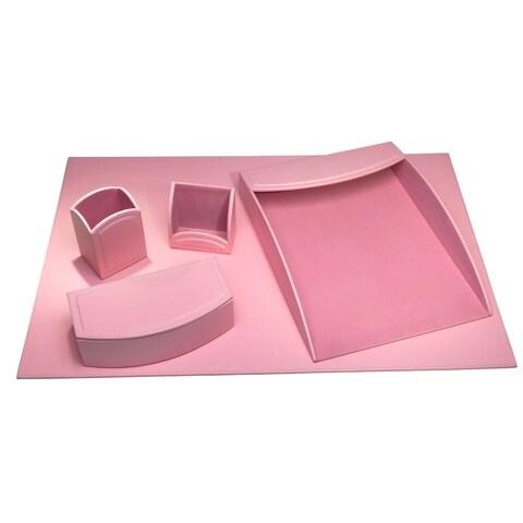 Cameo Pink Leatherette 5-piece Desk Set