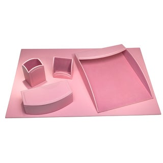 Cameo Pink Leatherette 5-piece Desk Set