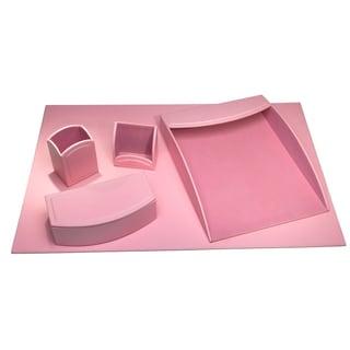 Ordinaire Cameo Pink Leatherette 5 Piece Desk Set
