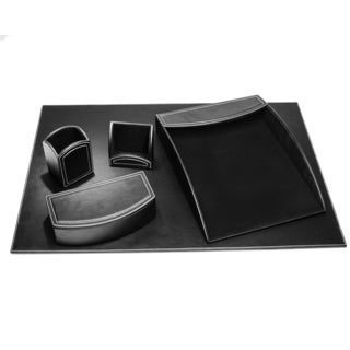 Midnight Black Leatherette 5-piece Desk Set