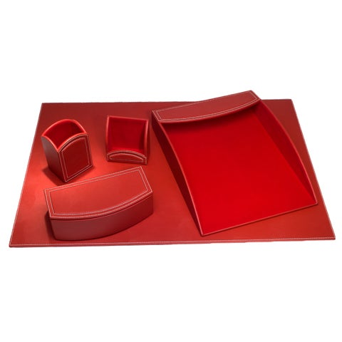 Rossa Red Leatherette 5-piece Desk Set