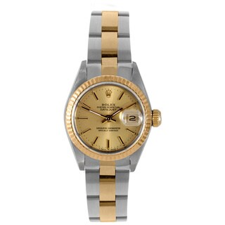 Pre-owned Rolex Women's Two-tone Gold 6900 Datejust Champage Index Dial Oyster Bracelet Watch